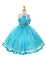 New Turquoise Flower Girls Dress Party Pageant Christmas Holidays Fancy Easter