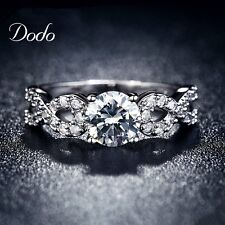 Fashion Women Rings White Gold Plated Wedding Engagement Classic Romantic