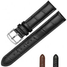 14mm-24mm Genuine Leather Soft Replacement Strap Steel Buckle Wrist Watch Band