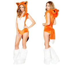 Ladies Sexy Fox Furry Animal Orange Fox Halloween Fancy Dress Up Party Costume