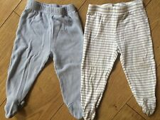 Two Pairs Of Baby Boy Jogging Pants With Built In Feet 12-18 Months