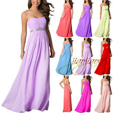 New STOCK Beading Formal Long Bridesmaid Dress Evening Prom Party Ball Gown 6-20