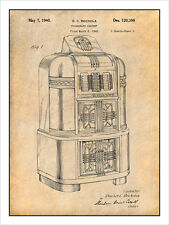 1940 Rockola Jukebox Patent Print Art Drawing Poster 18X24