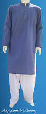 Blue Chambray Cotton Kurta With White Shalwar For Men (Ready Made/Make to Order)