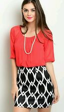 New Womens Misses Dress Size 4 6 8 10 12 14 Red Black White Petite Summer Party