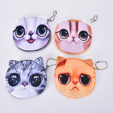 Children Cute Cat Face Coin Purse Kids Wallet Bag Change Pouch Key Holder