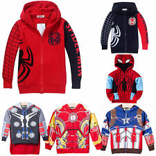 Kids Toddler Spider Man Zipper Hooded Sweatshirt BoysGrils Hoodie Jacket Coat