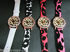 LADIES FASHION FAUX FUR LEOPARD ANIMAL PRINT BIG FACE BLING WRIST WATCH UKSELLER