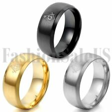 Masonic 8mm Stainless Steel Ring Men's Wedding Band Gift Gold Silver Black Tone