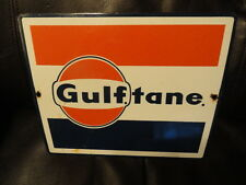 Gulf Tane Porcelain Pump Sign - Original - Vintage - Gas - Oil