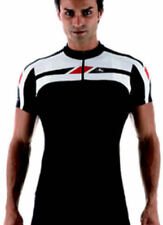 Giordana Mens Silverline Cycling Short Sleeve Top - Bike Jersey Black / White