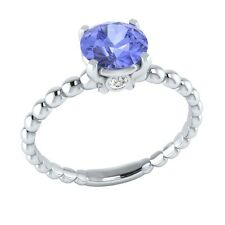 0.65 ct Real Tanzanite & Authentic Diamond Solid Gold Wedding Engagement Ring