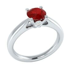0.65 ct Real Ruby & Authentic Diamond Solid Gold Wedding Engagement Ring