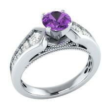 0.95 ct Real Amethyst & Authentic Diamond Solid Gold Wedding Engagement Ring