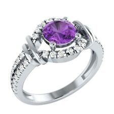 0.90 ct Real Amethyst & Authentic Diamond Solid Gold Wedding Engagement Ring