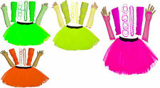 NEON TUTU SKIRT SET HEN PARTY 80'S FANCY DRESS UK Size