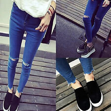 Sexy Women Denim Skinny Pants High Waist Hole Stretch Slim Pencil Jeans 3C