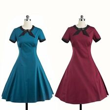 Vintage Style Causal Daily Housewife Dress Simple Women Swing Rockabilly Dress