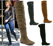 WOMENS LADIES OVER THE KNEE HIGH FOLDOVER LOW HEEL ZIP RIDING PIRATE BOOTS SIZE
