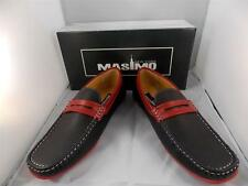 New Men's Masimo Black/Red Faux Leather Fashion Casual Driver Shoes #1262-14