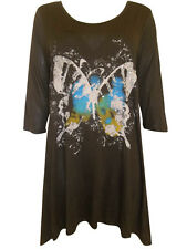 Womens plus size  18  top brown tunic length butterfly print top SALE !