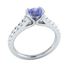 0.80 ct Natural Blue Tanzanite & Authentic Diamond White Gold Engagement Ring
