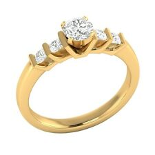 0.72ct Real White Sapphire & Authentic Diamond Solid Yellow Gold Engagement Ring
