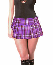 "PURPLE STRETCH LYCRA SCHOOLGIRL TARTAN PLAID PLEATED MICRO MINI 9""-9.5"" Long"