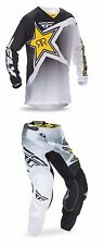 FLY RACING KINETIC ROCKSTAR MESH PANT JERSEY GEAR SET COMBO WHITE/BLACK/YELLOW