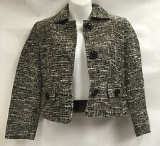 Laundry by Shelli Segal Women Black White Button Up Casual Blazer Jacket Coat 2