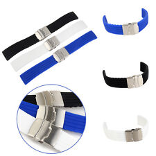 Mens Diver Silicone Rubber Deployment Buckle Watch Strap Band 20-22mm Waterproof