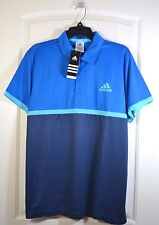 NWT MEN'S ADIDAS TENNIS CLIMALITE COURT SHORT SLEEVE BLUE POLO T SHIRT SIZE L