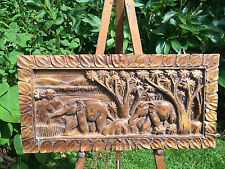 Vintage Carved Wooden Elephant Picture