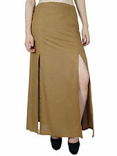 Bimba Women Brown Rayon Maxi Skirt with Long 2 Slits