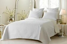 Luxury Reversible White & Ivory Coverlet Set with Shams AND Euro Shams-ALL SIZES