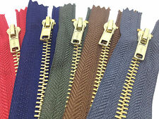 3 for 2 Brass Trouser Jeans Zip Zipper - Closed End Zips -13 Colours