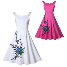 50s 60s Vintage Swing Embroidery Pinup Rockabilly Evening Party Casual Dresses