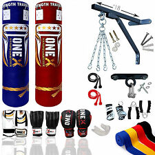 Heavy Filled Boxing Set Bag Gloves 4ft 5ft Punch  Bracket Chain Pad MMA Kick