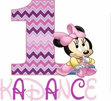 Easy Iron On Pink and Purple Chevron Minnie Mouse T Shirt Transfer Minnie Mouse