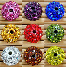 10Pcs Spacer Beads Round Crystal Rhinestones Disco Ball Clay Pave Czech