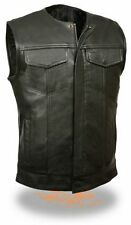 Mens Anarchy Motorcycle Biker Waistcoat Full Real Leather Black Vest Jacket Cut