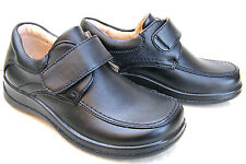 BLACK NEW BOYS LEATHER LINED SHOES VELCRO FORMAL LIGHT SCHOOL SHOES TRAINERS UK