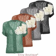 Ladies Womens Knitted Cardigan Shrug Short Sleeve Crochet Jumper Dress Top