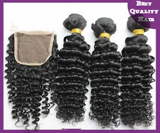 3 Bundles 300g Remy Human Hair Weaves with Lace Top Closure Deep Wave Extensions