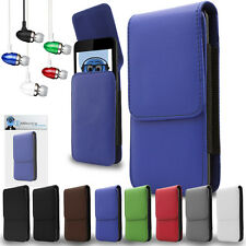 PU Leather Vertical Belt Case And Aluminium Headphones For BlackBerry 9500 Storm