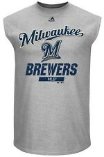 Milwaukee Brewers MLB Mens Majestic Flawless Muscle Shirt Gray Big & Tall Sizes