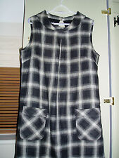 Hobbs Black & White Plaid Sleeveless Linen Dress Sz 18 - VGC