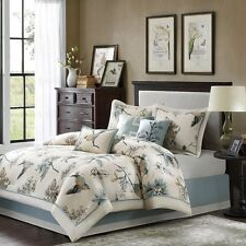 7pc Luxury Blue Brown Bird Lovers Comforter Bed Skirt AND Decorative Pillows