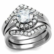 2.25 Ct Round Cut CZ Silver Stainless Steel Engagement & Wedding Ring Set Women'