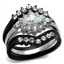 1.95 Ct Halo Marquise Cut Cz Black Stainless Steel Wedding Ring Set Women's Sz 5